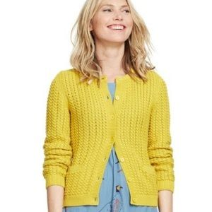Boden Yellow Cable Knit Sweater Cardigan 10